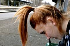 Jill Kaulius messes around while we wait for a train.