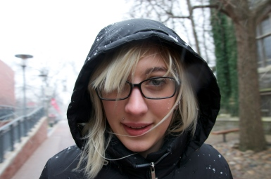 Jackie LaCorte caught off guard during a snow storm.