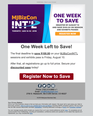 (EVENT) INT'L email promoting final deadline to save on registration