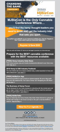 (EVENT) MJBizCon email promoting hemp and CBD resources